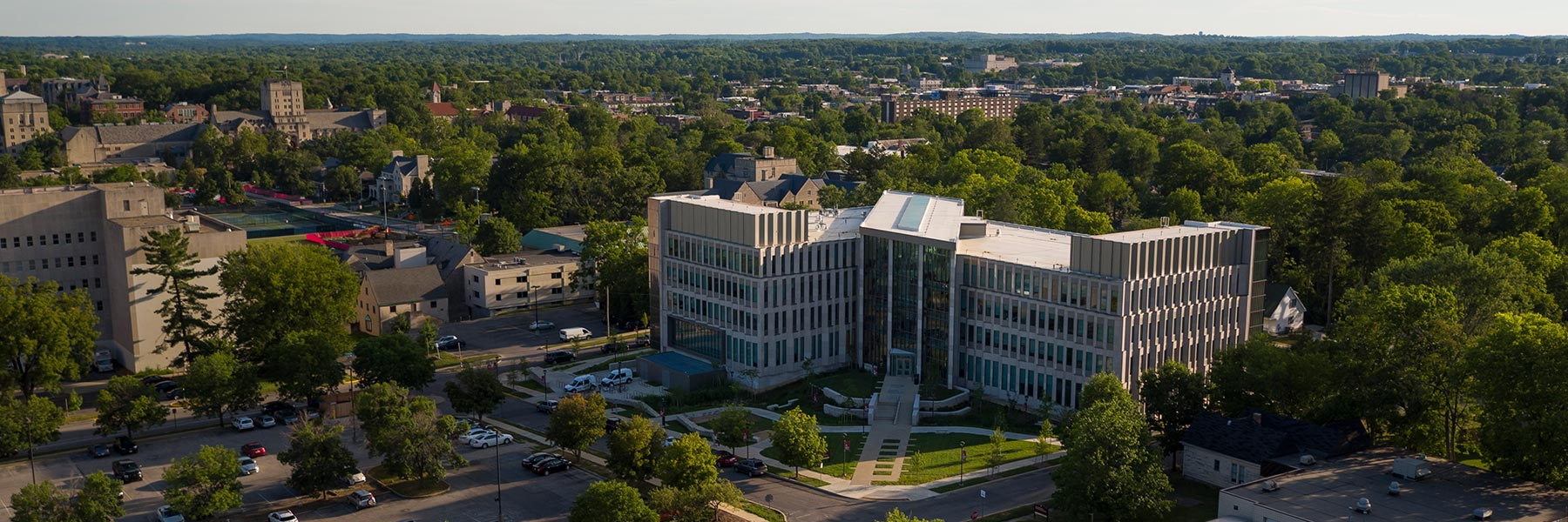 An aerial view of Luddy Hall, an academic building on the IU Bloomington Campus