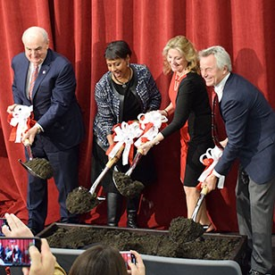 (From left to right) IU president Michael McRobbie, IU Trustee Donna Spears, IU Trustee MaryEllen K. Bishop, and IU alumnus Fred Luddy turned the ceremonial shovels at the event.