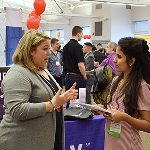 More than 700 students networked with potential employers during the Spring Career Fair.